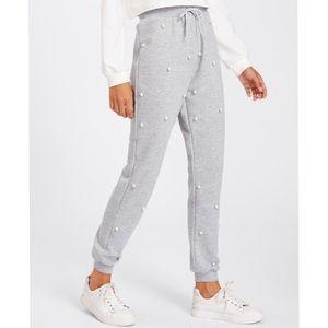 Pants - Pearl Embellished Gray Heather Sweatpants